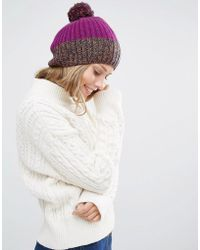 Alice Hannah - Rib & Cable Patchwork Beanie - Lyst