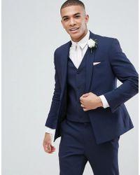 ASOS - Asos Wedding Skinny Suit Jacket With Square Hem In Navy - Lyst