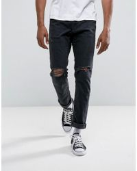 Abercrombie & Fitch - Slim Fit Jeans In Destroyed Black Wash - Lyst