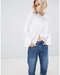 UNIQUE21 - Unique 21 White Cotton Tie Sleeve Shirt - Lyst