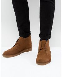 Clarks - Suede Desert Boots In Tan - Lyst