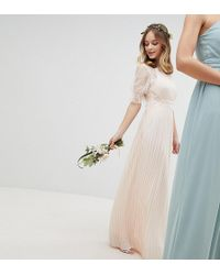 TFNC London - Pleated Maxi Bridesmaid Dress With Spot Mesh Frill Detail - Lyst