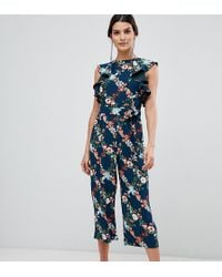 Oasis - Fitzwilliam Collection Jumpsuit In Floral Print With Frill Shoulder - Lyst