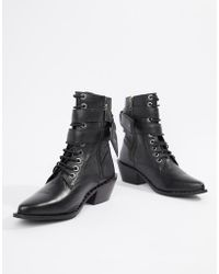 Religion - Larisa Lace Up Leather Buckle Heeled Ankle Boots - Lyst