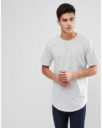 Only & Sons - Longline T-shirt With All Over Print - Lyst