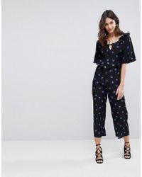 Fashion Union | Wide Leg Jumpsuit In Rose Floral | Lyst