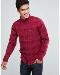 Hollister | Poplin Shirt Tonal Check Slim Fit In Red | Lyst