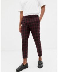 New Look - Slim Fit Smart Pants In Plaid - Lyst