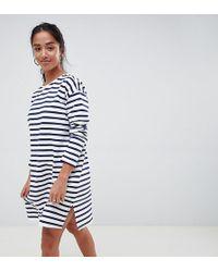 7b587078b24db ASOS - Asos Design Petite Sweat Dress In Stripe With Long Sleeves - Lyst
