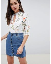 Girls On Film - Floral Blouse With Choker Detail - Lyst