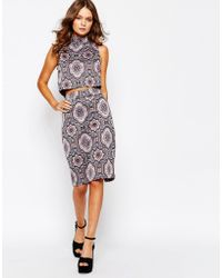 First & I - Printed Pencil Skirt - Lyst