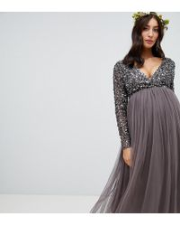 6eb49e7197f Maya Maternity - Long Sleeve Wrap Front Midi Dress With Delicate Sequin And  Tulle Skirt In