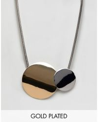 Fiorelli - Gold Plated Double Disc Necklace - Lyst
