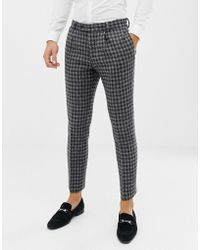 ASOS - Slim Suit Trousers In 100% Wool Harris Tweed In Monochrome - Lyst