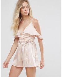 7472d9bdbe1c Lyst - Oh My Love H My Love Cross Front Playsuit With Bar Back in Pink