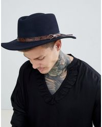 ASOS - Design Pork Pie Hat With Wide Brim In Navy With Tan Embossed Band Detail - Lyst