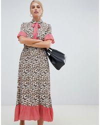 Vila - Printed Retro Midi Dress - Lyst