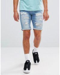 11 Degrees - Super Skinny Denim Shorts In Lightwash Blue - Lyst