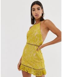 Fashion Union - High Neck Lace Dress With Low Back - Lyst