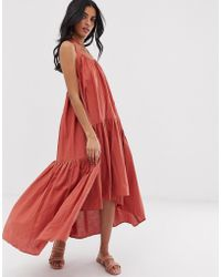 Lost Ink - Midi Dress With Tiered Volume Skirt - Lyst