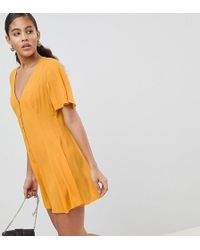 ASOS - Asos Design Tall Swing Romper With Button Detail - Lyst