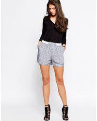 Just Female - Grape Short With White Brush Print - Black - Lyst