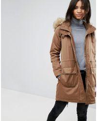 Esprit - Faux Fur Hood Parka Jacket - Lyst