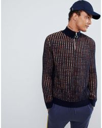 ASOS - Knitted Turtle Neck Jumper With Zip In Navy Twist - Lyst