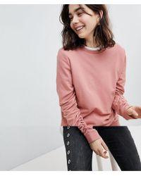Pieces - Ruffle Sleeve Sweatshirt - Lyst