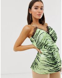 Missguided Wrap Cami Top With Lace Trim In Zebra Print