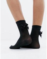 Monki - Glitter Socks With Bow In Black - Lyst
