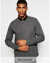 Wincer & Plant - Smart Shirt With Contrast Small Collar Slim Fit Exclusive - Lyst