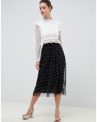 ASOS - Asos Faux Pearl Embellished Fully Lined Tulle Midaxi Skirt - Lyst