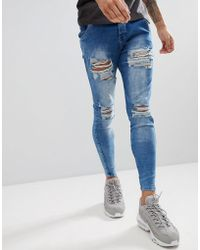 SIKSILK - Muscle Fit Jeans In Acid Blue With Distressing - Lyst