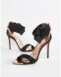 7c1723119 Lyst - Ted Baker Juliennas Black Suede Barely There Heeled Sandals ...