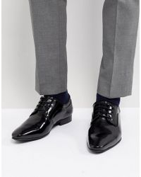 Dune - Lace Up Derby Shoes In Black High Shine - Lyst