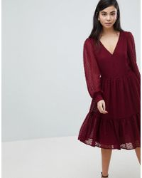 Soaked In Luxury - Textured Dot Tiered Dress - Lyst