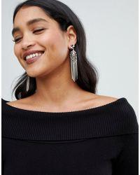 Lipsy - Drop Statement Tassel Earrings With Jewel Embellishment In Rose Gold - Lyst