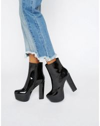 Daisy Street - Black Patent Mega Platform Ankle Boots - Lyst