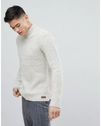 Solid - Fishermans Sweater With Turtleneck In Nep - Lyst