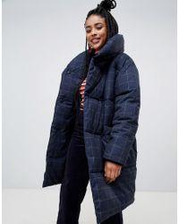 Monki - Longline Grid Puffer Jacket - Lyst