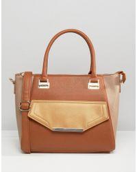 Yoki Fashion - Colourblock Tote Bag - Beige - Lyst