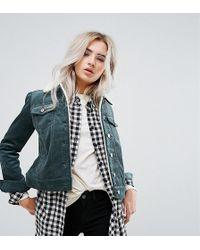 Noisy May Petite - Cord Jacket With Fleece Collar - Lyst