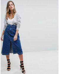 DIESEL - Midi Denim Skirt - Lyst