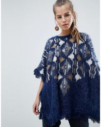 Oeuvre - Patterned Poncho Jumper With Fringe Detail - Lyst