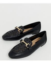 d9de457e602 Miss Selfridge - Loafers With Woven Front In Black - Lyst