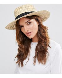 South Beach - Straw Boater Hat With Black Band - Lyst