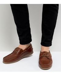 ASOS - Design Wide Fit Boat Shoes In Tan Leather - Lyst