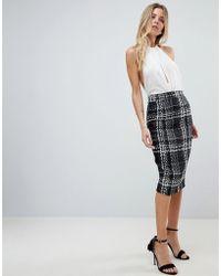 Vesper - Check Pencil Skirt - Lyst