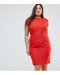 Closet London Plus - Structured Plisse Pencil Dress - Lyst